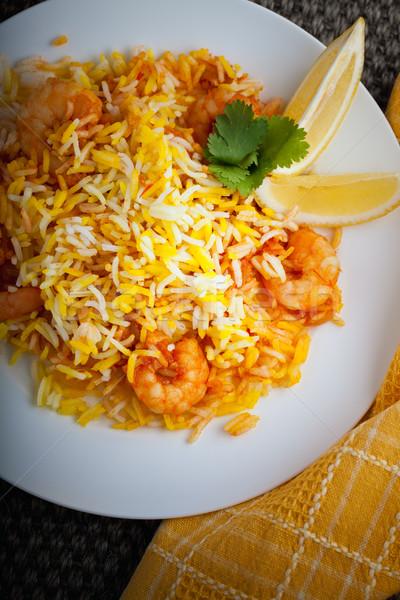 индийской креветок лимона таблице продовольствие риса Сток-фото © user_11224430