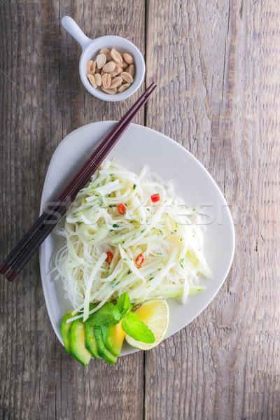 Baharatlı makarna pansuman balık sos sirke Stok fotoğraf © user_11224430