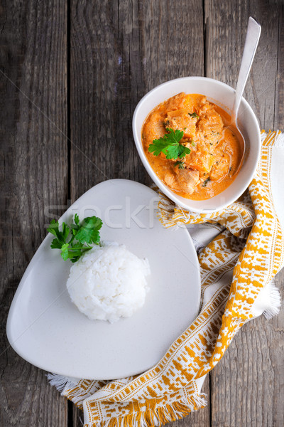 Foto stock: Caril · de · frango · arroz · superfície · comida · vegetal