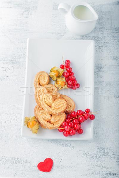 Kekszek cukor fahéj valentin nap étel reggeli Stock fotó © user_11224430