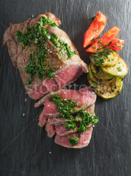 Roast Beef dinner with roasted zucchini Stock photo © user_11224430