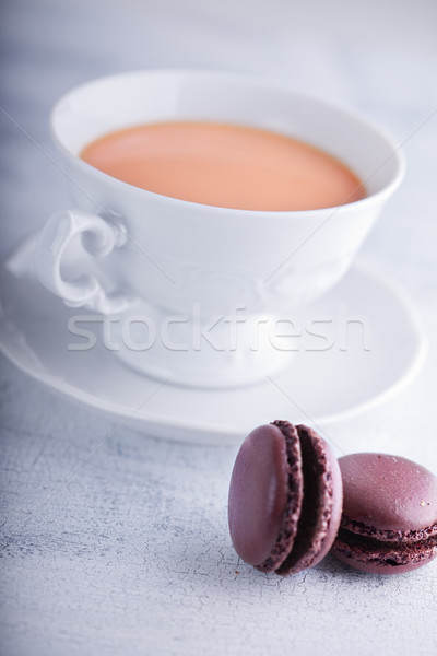 Кубок чай молоко шоколадом пластина Сток-фото © user_11224430