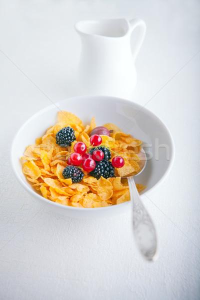 Friss tál gabonapehely fehér tányér étel Stock fotó © user_11224430