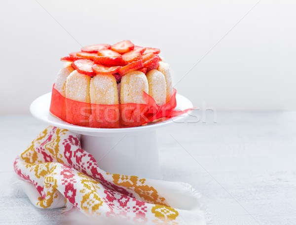 Cake Charlotte with strawberries Stock photo © user_11224430
