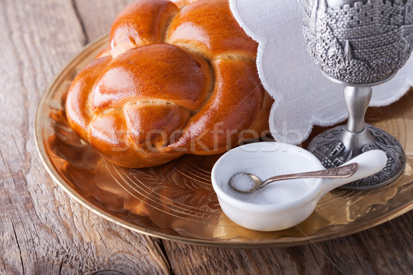 Wine, challah for the Jewish Sabbath Stock photo © user_11224430