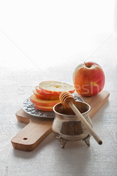 меда яблоки пластина фотографии банку горизонтальный Сток-фото © user_11224430