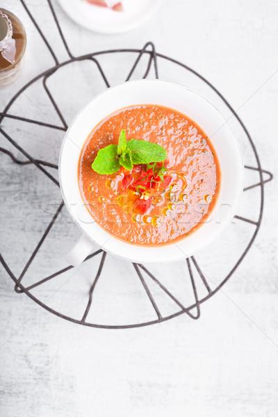 Puchar świeże zupa pomidorowa biały lata czerwony Zdjęcia stock © user_11224430