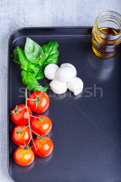салат Капрезе Ингредиенты каменные пластина продовольствие томатный Сток-фото © user_11224430