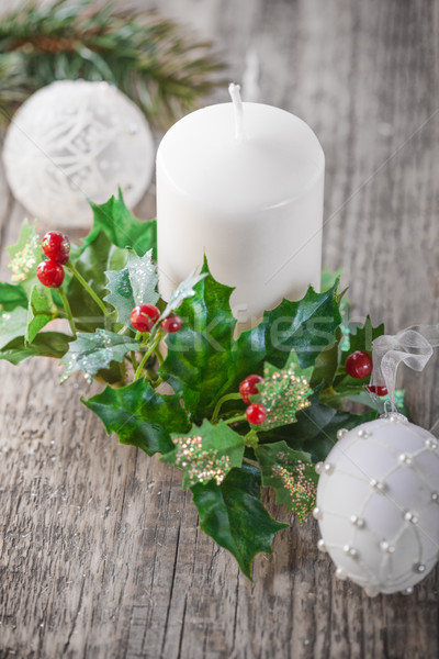 Dekoráció karácsony gyertya játék fa asztal Stock fotó © user_11224430