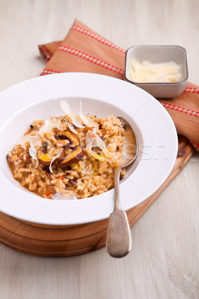 Cogumelo cozinha italiana branco prato comida jantar Foto stock © user_11224430