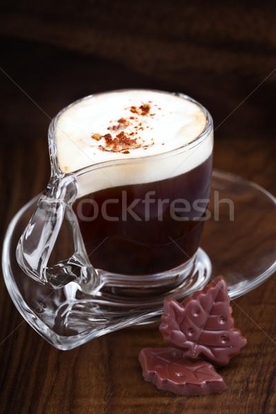 капучино кофе деревянный стол Кубок шоколадом листьев Сток-фото © user_11224430