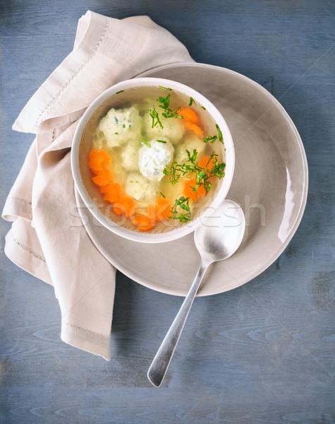 Tyúkhúsleves asztal leves tyúk húsgombócok zöldségek Stock fotó © user_11224430