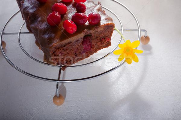 Foto stock: Bolo · de · chocolate · chocolate · caramelo · bolo · tabela