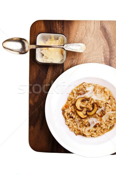Gomba rizottó felszolgált asztal olasz konyha étel Stock fotó © user_11224430