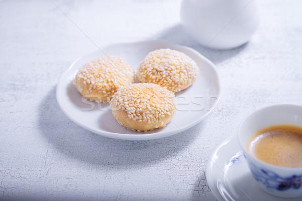 Amandelen cookies koffie glutenvrij meel dessert Stockfoto © user_11224430