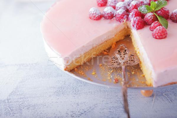 ヨーグルト 自家製 チーズケーキ ラズベリー ケーキ 液果類 ストックフォト © user_11224430