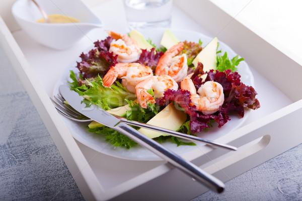 Abacate camarão salada mostarda molho bandeja Foto stock © user_11224430