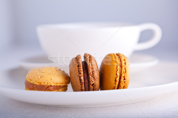 Almond cookies French macaroons with a cup of tea Stock photo © user_11224430