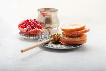 Mel maçãs prato fotografia jarra horizontal Foto stock © user_11224430