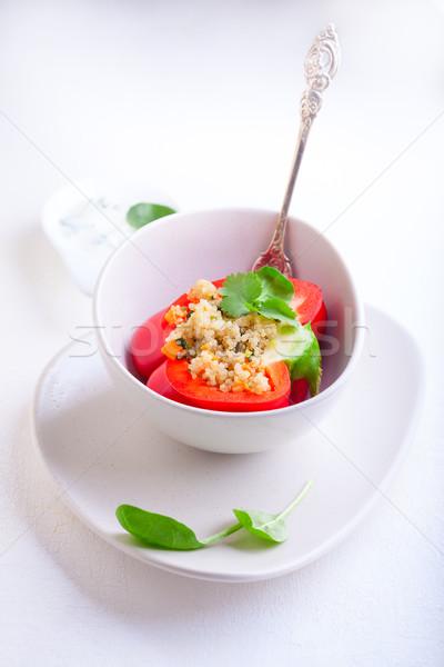 Töltött piros paprikák vacsora főzés ebéd Stock fotó © user_11224430
