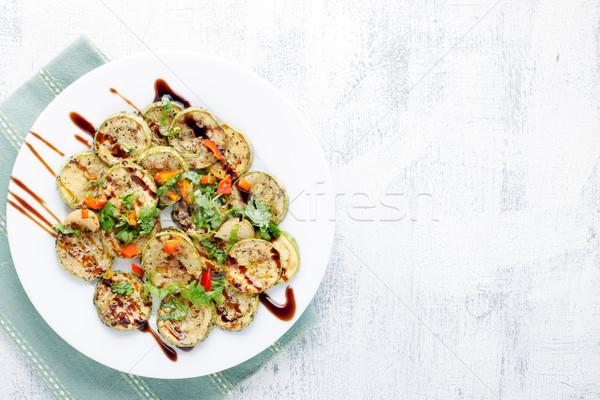блюдо жареный цуккини белый пластина продовольствие Сток-фото © user_11224430