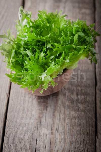 свежие зеленый салата деревянный стол Салат сельского хозяйства Сток-фото © user_11224430