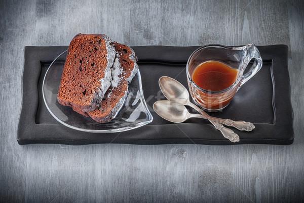 Bolo de chocolate café pedra prato chocolate bolo Foto stock © user_11224430
