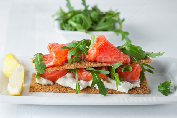 Smoked Salmon Canapes with Cream Cheese  Stock photo © user_11224430