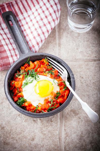 Traditionnel plat pan déjeuner tomate Photo stock © user_11224430