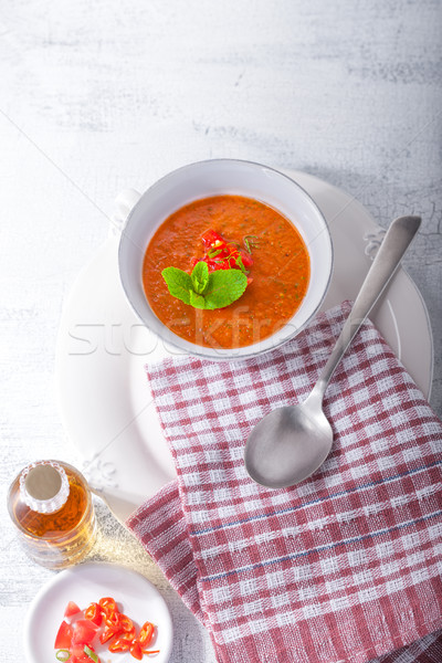 Bowl of Fresh tomato soup Gazpacho Stock photo © user_11224430