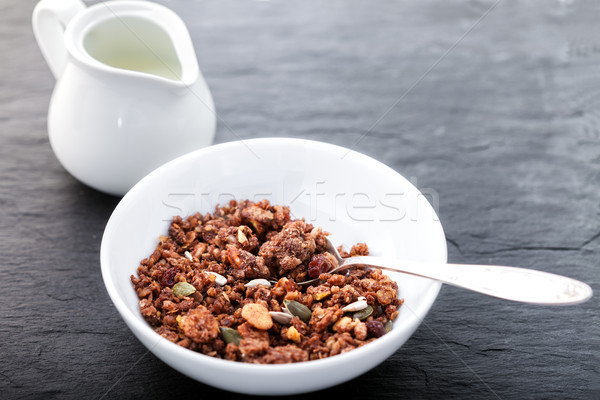 Saine avoine céréales bois surface granola Photo stock © user_11224430