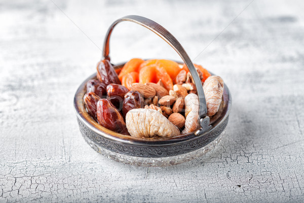 Mixture of dried fruits and nuts Stock photo © user_11224430