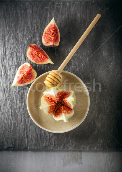 Fresh fig on the plate Stock photo © user_11224430