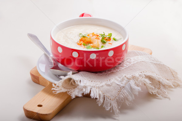 A bowl of creamy cauliflower soup Stock photo © user_11224430