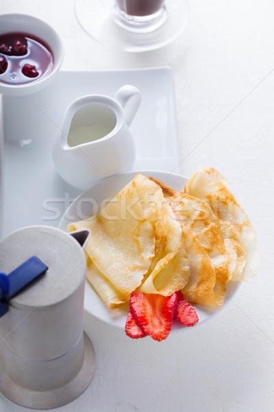 Fragole caffè bianco superficie alimentare piatto Foto d'archivio © user_11224430