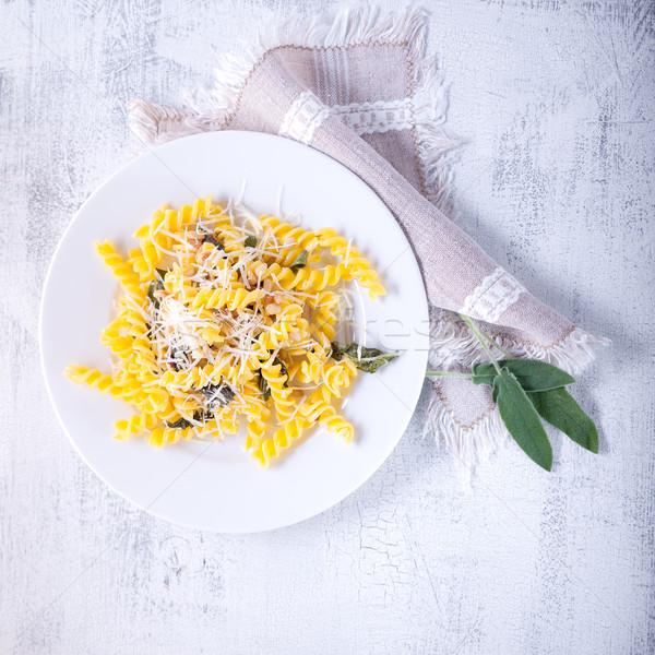Makarna sarımsak adaçayı çam fındık glutensiz Stok fotoğraf © user_11224430