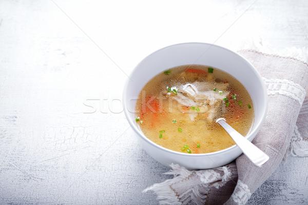 Fresche brodo di pollo fatto in casa cucchiaio bianco tovagliolo Foto d'archivio © user_11224430
