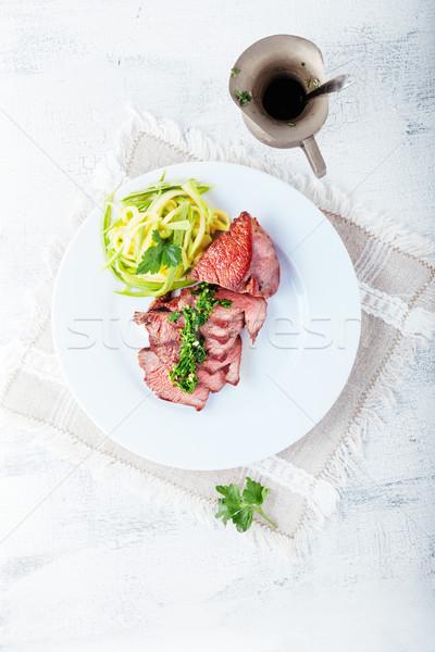 Zucchine pasta carne bianco piatto cena Foto d'archivio © user_11224430