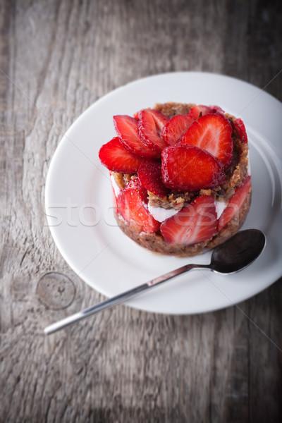 Strawberry and custard tart Stock photo © user_11224430