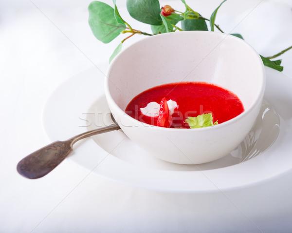 Eper leves asztal fehér szalvéta piros Stock fotó © user_11224430