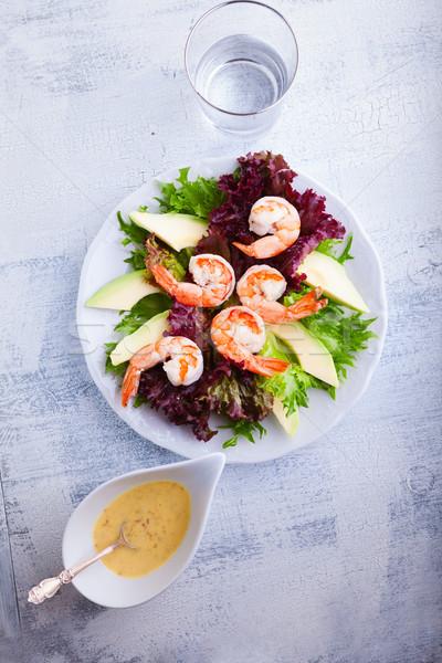 Avocado garnalen salade mosterd saus witte Stockfoto © user_11224430