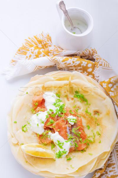 Füstölz lazac ropogós krém sajt ebéd zöldség Stock fotó © user_11224430