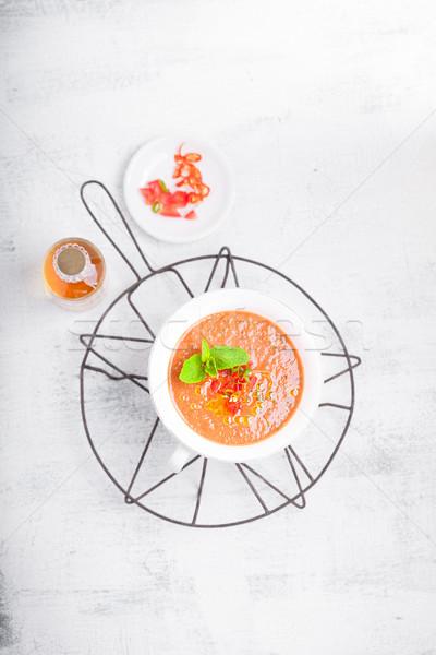 çanak taze domates çorbası yaz kırmızı domates Stok fotoğraf © user_11224430
