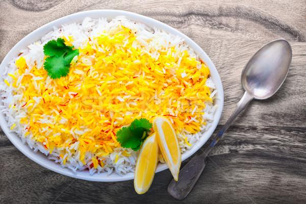 Hint karides limon tablo gıda akşam yemeği Stok fotoğraf © user_11224430