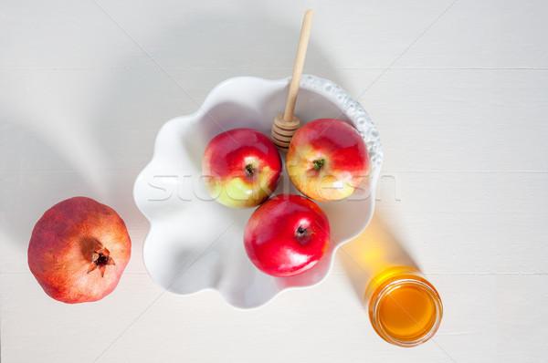 Mele melograno miele alimentare mela tavola Foto d'archivio © user_11224430