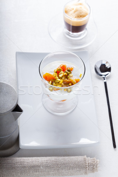 Casero yogurt secado café frutas leche Foto stock © user_11224430