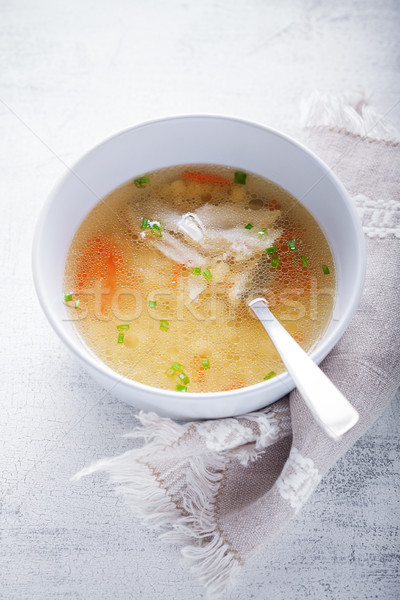 Fresche brodo di pollo fatto in casa cucchiaio legno superficie Foto d'archivio © user_11224430