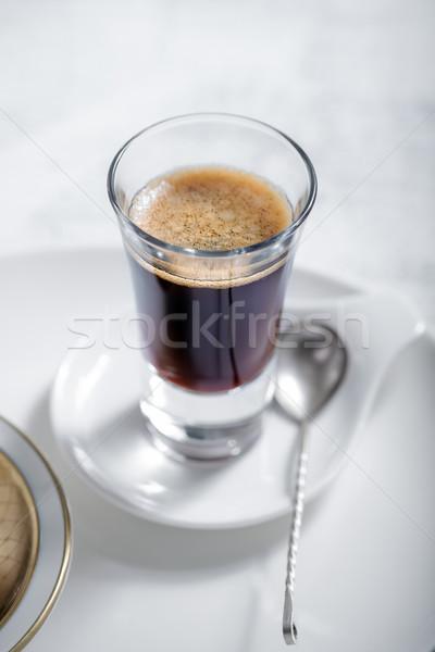 Stock fotó: Csésze · kávéscsésze · kávé · eszpresszó · kanál · kávézó