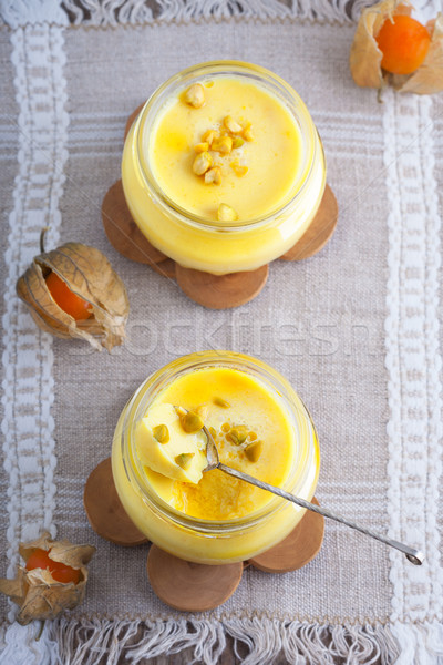Panna cotta of almond milk with saffron Stock photo © user_11224430
