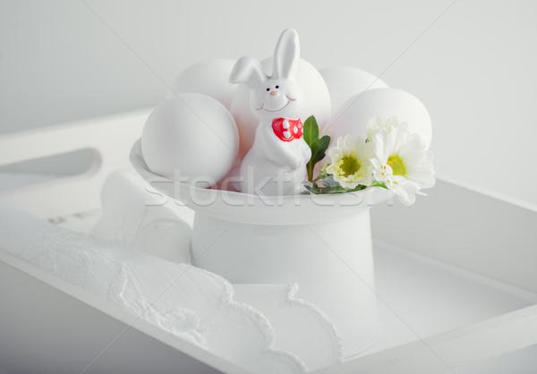 Tojások nyúl virágok fehér felület húsvét Stock fotó © user_11224430